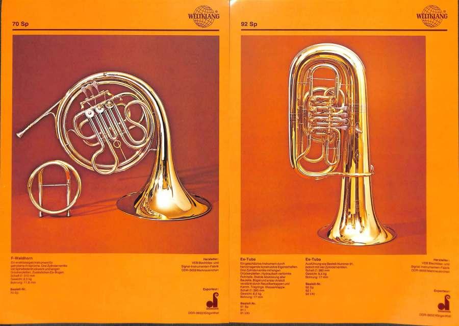 Weltklang, rotary valve F/Eb French Horn, rotary valve Eb Tuba, vintage colour print literature, VEB Blechblas- und Signal-Instrumenten-Fabrik (B&S), GDR, DDR, German musical instruments