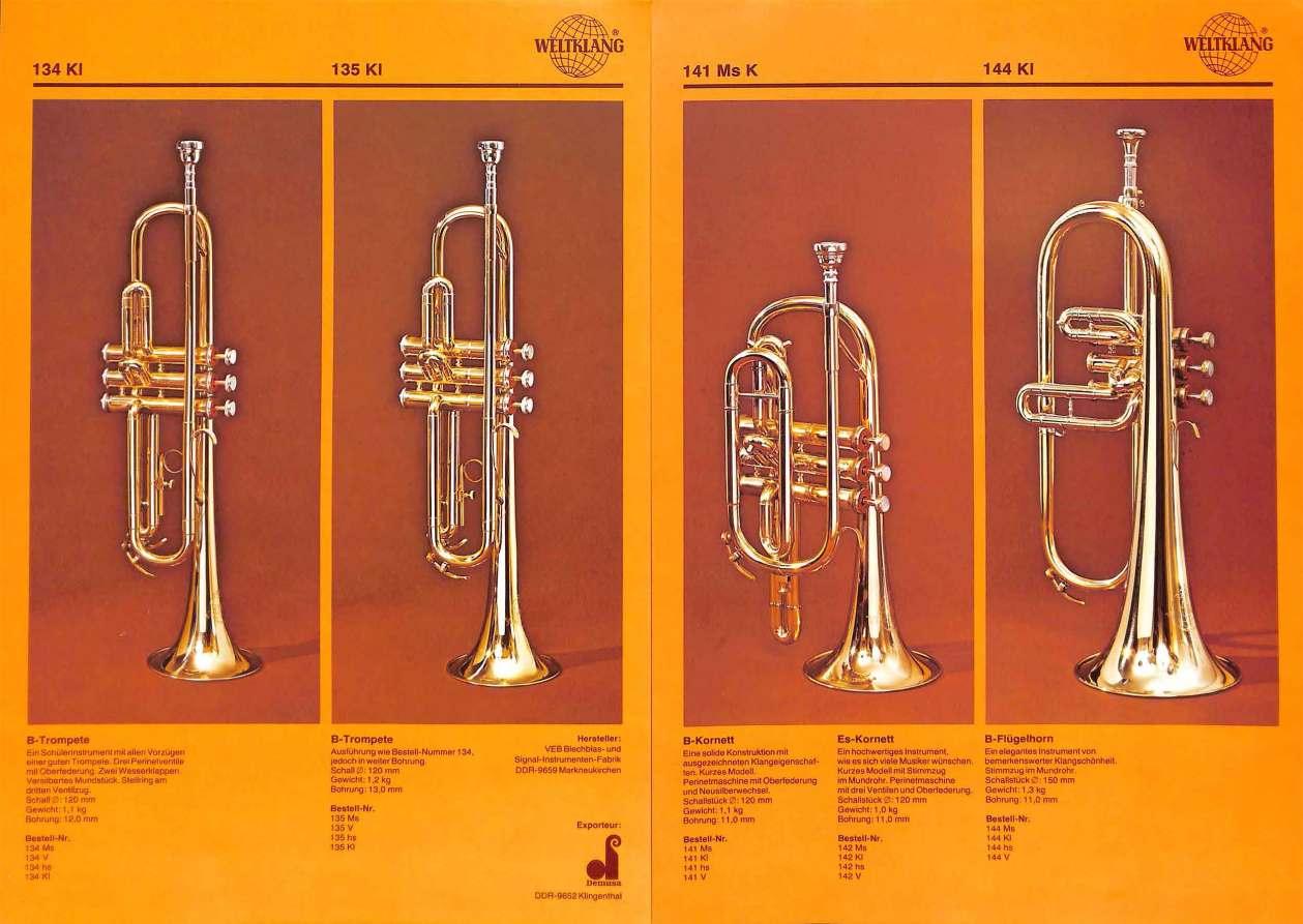 Weltklang, Bb trumpet, Bb, coronet, Bb flugelhorn, vintage colour print literature, VEB Blechblas- und Signal-Instrumenten-Fabrik (B&S), GDR, DDR, German musical instruments