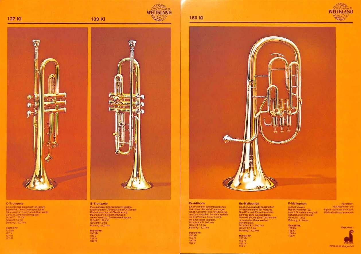Weltklang, Bb trumpet, C trumpet,, Eb alto horn, vintage colour print literature, VEB Blechblas- und Signal-Instrumenten-Fabrik (B&S), GDR, DDR, German musical instruments