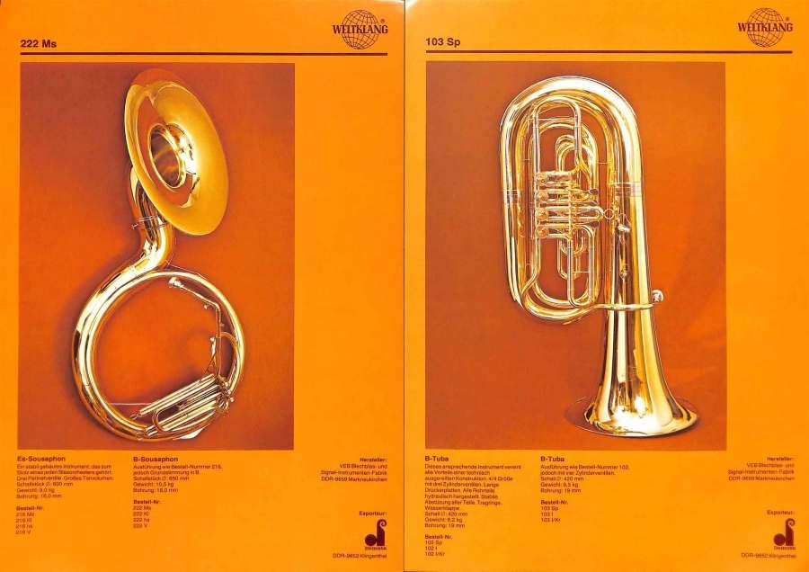 Weltklang, Bb sousaphone, Bb tuba with rotary valves, vintage colour print literature, VEB Blechblas- und Signal-Instrumenten-Fabrik (B&S), GDR, DDR, German musical instruments