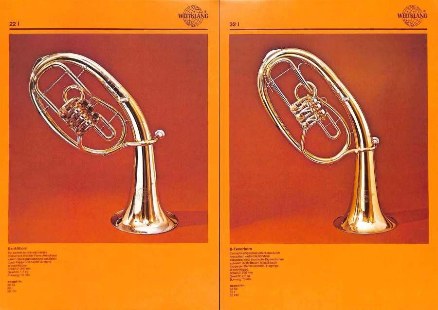 Weltklang, rotary valve Eb alto horn, rotary valve Bb tenor horn, vintage colour print literature, VEB Blechblas- und Signal-Instrumenten-Fabrik (B&S), GDR, DDR, German musical instruments