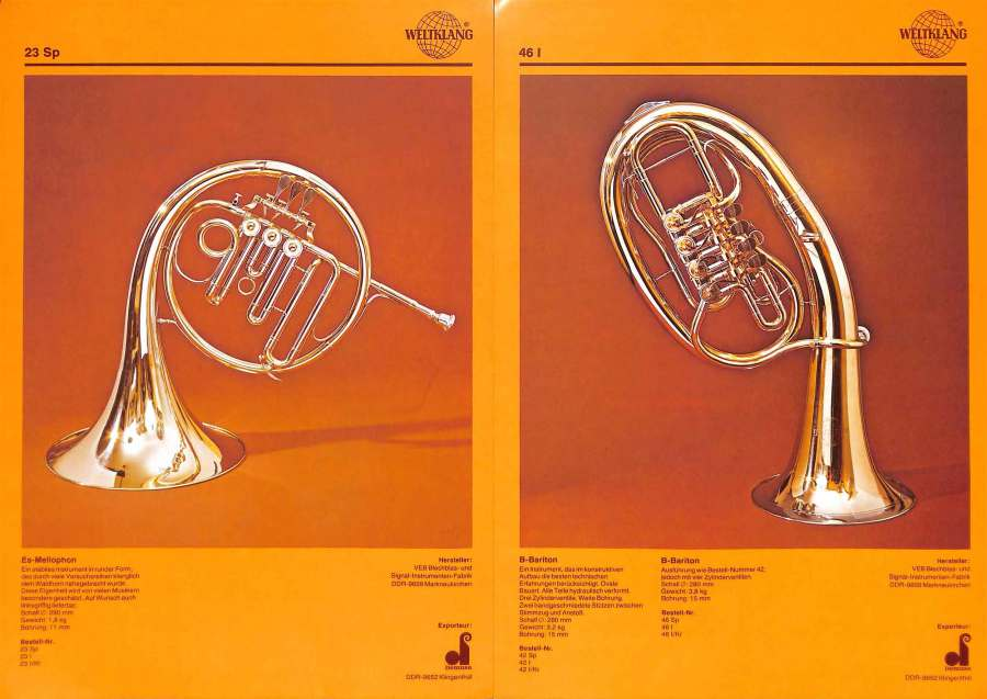 Weltklang, rotary valve Eb mellophone, rotary valve Bb baritone, vintage colour print literature, VEB Blechblas- und Signal-Instrumenten-Fabrik (B&S), GDR, DDR, German musical instruments