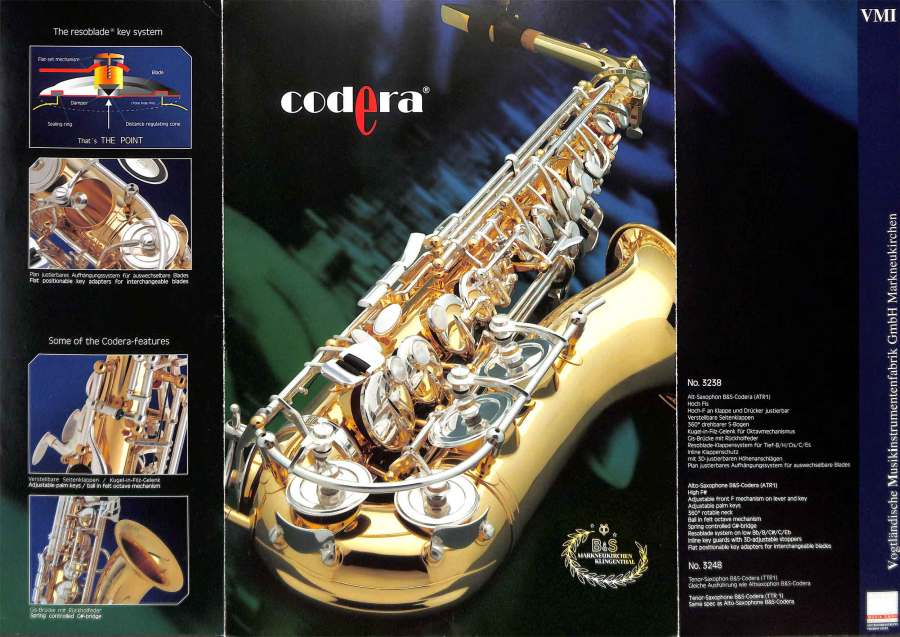 B&S saxophone, Codera, German saxophone, color brochure, alto sax,