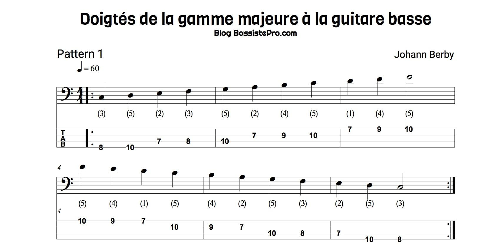 Doigtes gamme majeure guitare basse Pattern 1