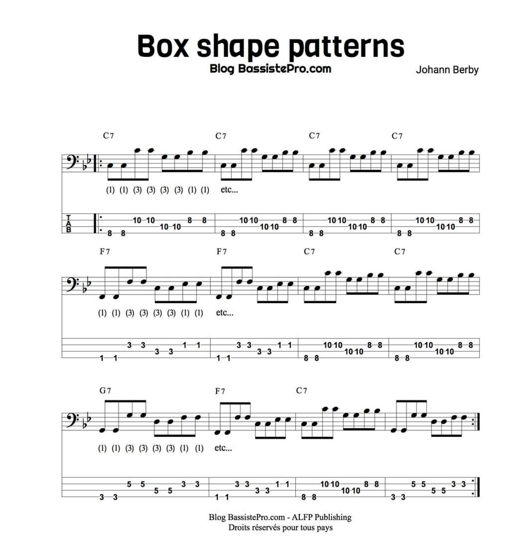 box shape patterns apprendre le blues a la basse 2