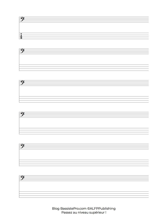 Partitions vierge et tablatures vierge pour guitare basse t l charger - Feuille de musique a imprimer ...