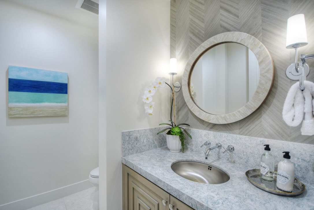 Interior Design Powder Room Bathroom Coastal Luxury Newport Beach Orange County