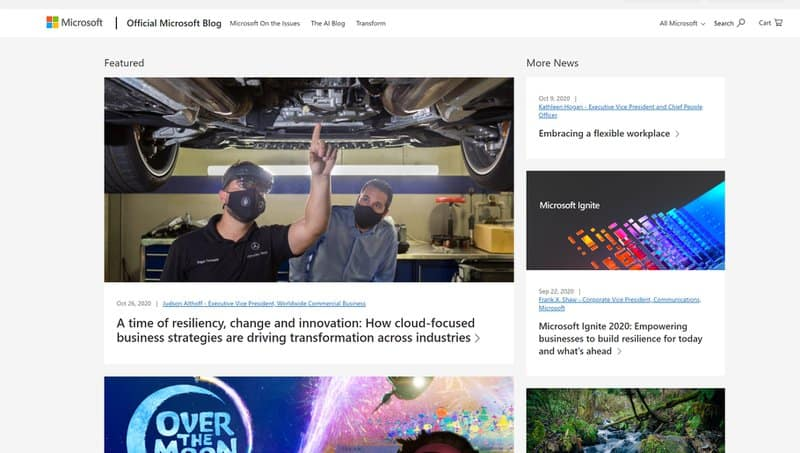 Microsoft blog on WordPress