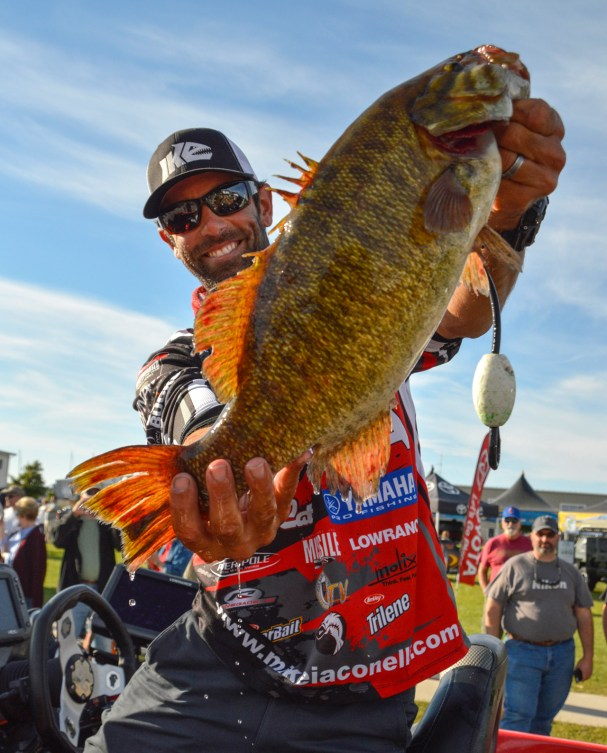 Mike Iaconelli made a charge at the 2015 AOY thanks to smallies like this Sturgeon Bay beast. Photo by Joel Shangle.