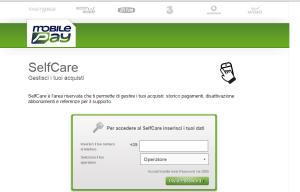 schermata del servizio selfcare di Mobilepay
