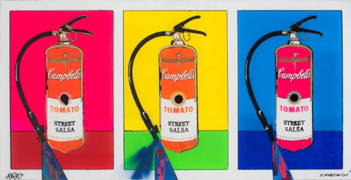 Basto X Magaldi spray paint and stencils on canvas Campbell's extinguisher 100 x 50 x 4 cm