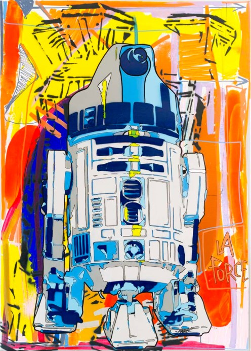 2015 La force Basto X Tarek Spray paint stencils on canvas 92 x 65 cm / 36.22 x 25.59 in