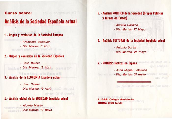 Programa de Actividades de la Escuela de Cultura Popular (B) -Aula de Estudios-