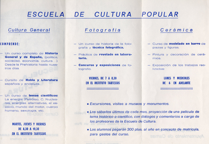 Programa de Actividades de la Escuela de Cultura Popular (B) Curso 1980/1981