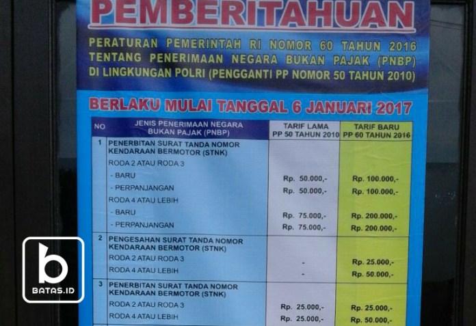 Rincian daftar tarif pajak baru (pnbp) yang terpasang di kantor samsat purwantoro/foto : reymond s ©batas.id