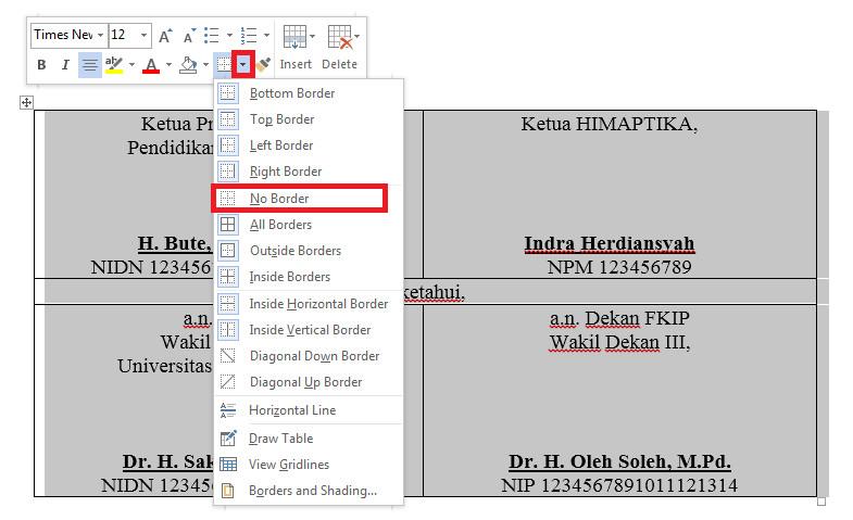 Cara menghilangkan garis tabel di Word