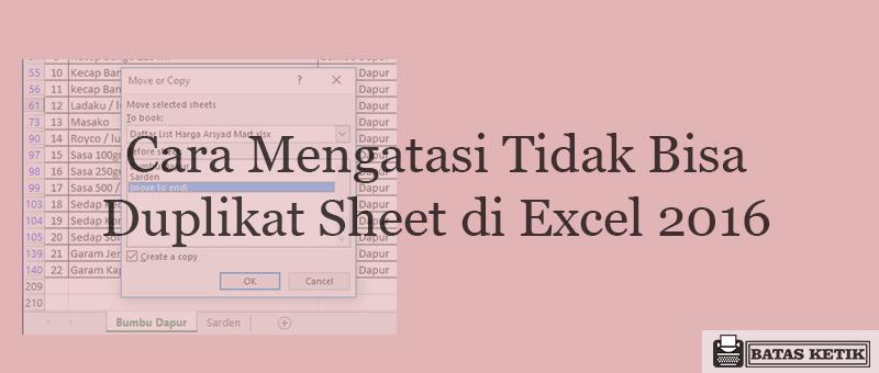 Cara Mengatasi Tidak Bisa Duplikat Sheet di Excel 2016