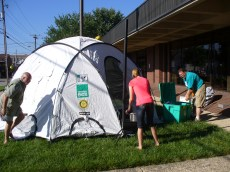 Prepping the ShelterBox tent for Kids Health & Safety Fun Day
