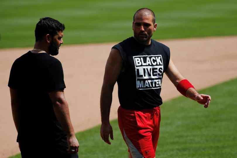 Joey Votto sporting a MLB t-shirt