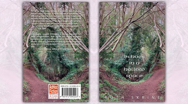 Back and front cover. Picture of woodland with a hollow space, where title is placed