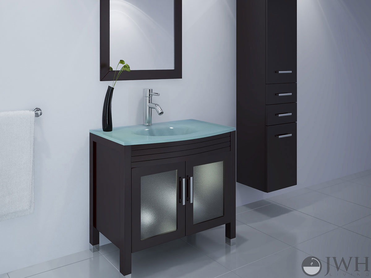 "35.5"" Ludwig Glass Sink Bathroom Vanity"