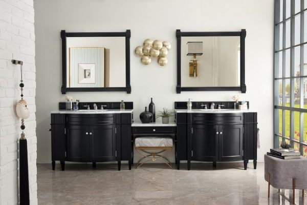 brittany 118 double vanity set black onyx with makeup table 3 cm arctic fall solid surface top
