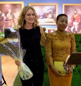 Literary agent Felicity Blunt congratulates 2018 winner Abi Dare