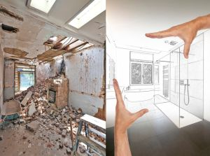 Drawing and planned Renovation of a bathroom Before and after