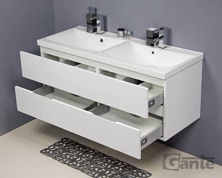 White vanity unit 120cm (60+60cm)
