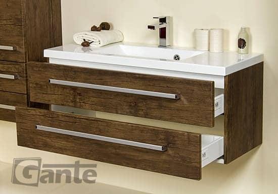 vanity unit 100cm antique wood two drawers