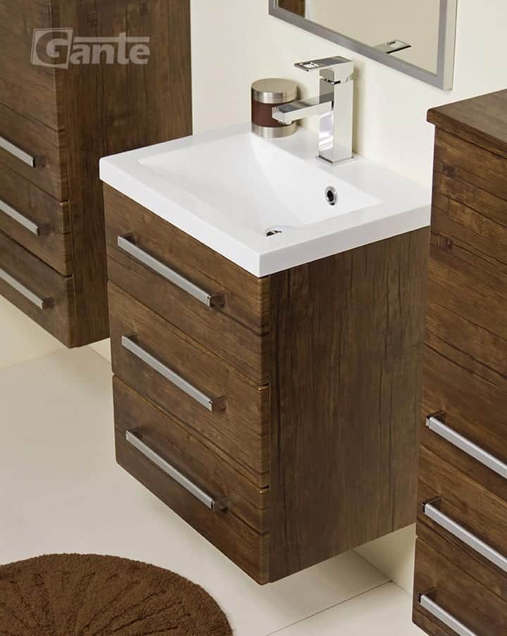 vanity unit 50cm antique wood three drawers