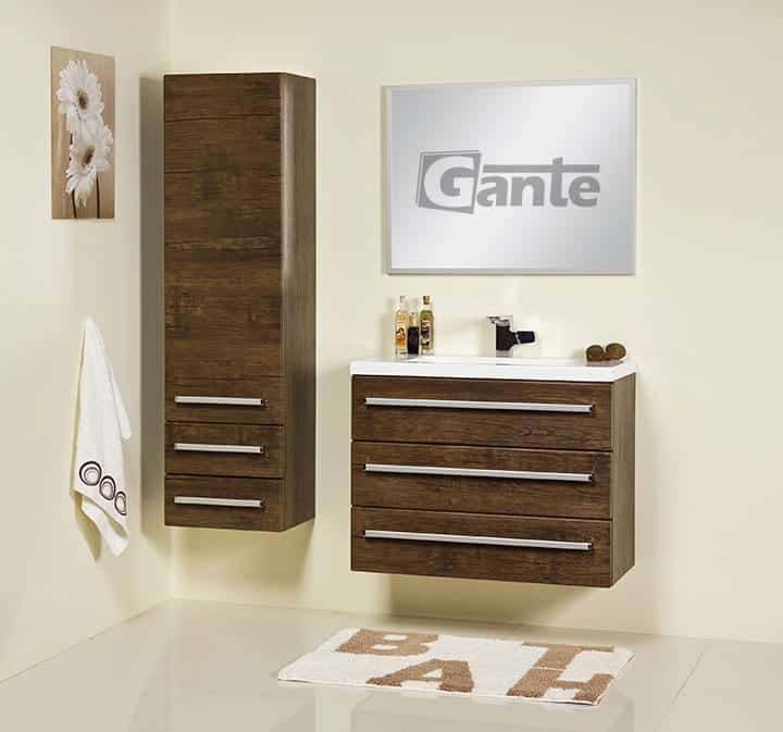 vanity unit 80cm antique wood two drawers