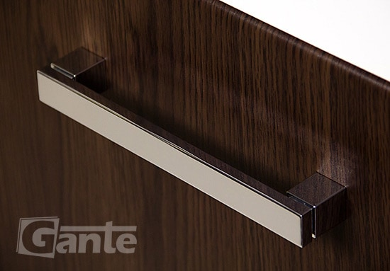 walnut vanity unit, handle