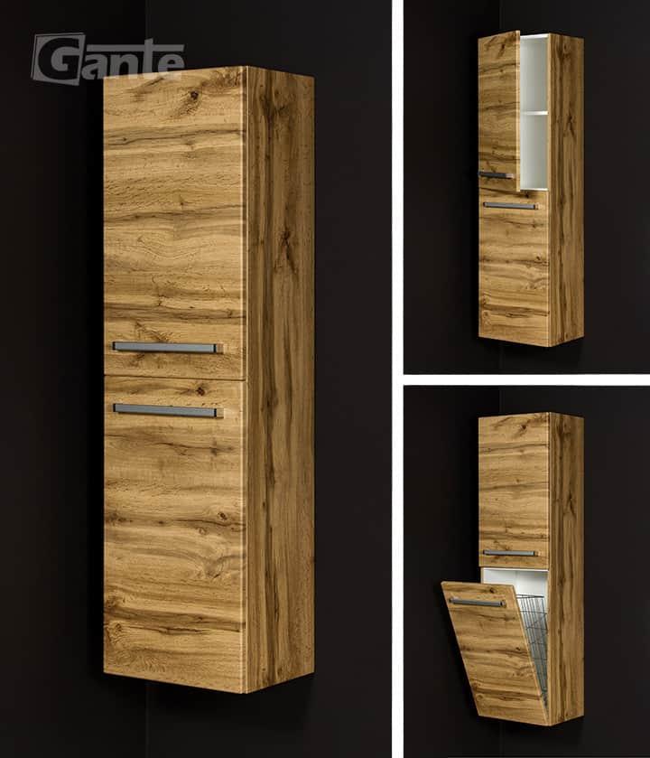 Tall storage unit oak with basket