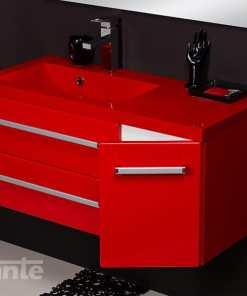 vanity unit 90cm red