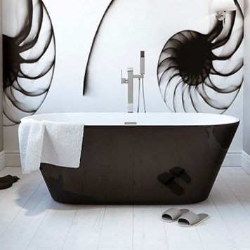Black freestanding bath