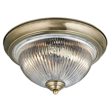 American Diner Flush Antique Brass Bathroom Ceiling Light
