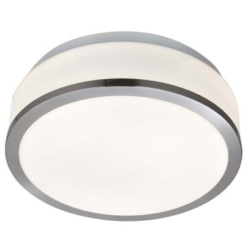 Bathroom Drum Shape Satin Silver Ceiling Light With Opal Glass