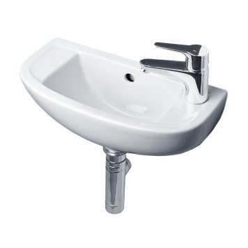 Essential Lily Slimline Cloakroom Basin, 450mm Wide, 1 RH Tap Hole