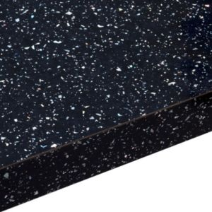 28mm Astral Black Gloss Laminate Worktop (L)2m (D)365mm