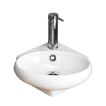 Above Counter Corner Cloakroom White Hand Basin 360mm x 390mm CESENA
