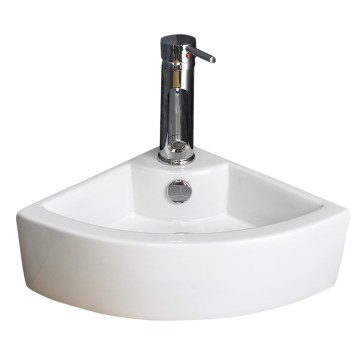 Space Saving Small White Corner Hand Basin Counter Mounted 400mm OLBIA
