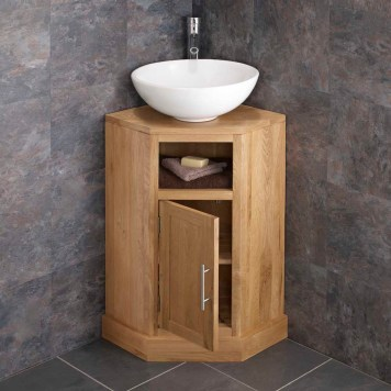 Cloakroom Corner Oak Vanity Unit + Large Round Basin Set CUBES