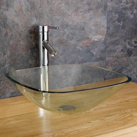 Glass Countertop Basin | Clear Square Bathroom Washbasin Bowl | 310mm | Monza