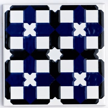 V&A Owen Jones Wall Tile Cobalt and Black Decor 152mm x 152mm 1 Per Pack - VA90116