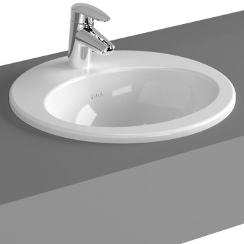 Vitra S20 Compact Countertop Ceramic Basin 530mm, 1 Tap Hole