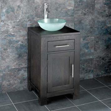 Dark Oak Bathroom Cabinet and Round Bathroom Basin Bundle Frosted Glass Sink Tap and Waste Alta