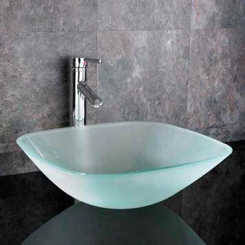 Square Countertop Bathroom Basin Frosted Glass 310mm Surface Mounted Bowl Sink Monza
