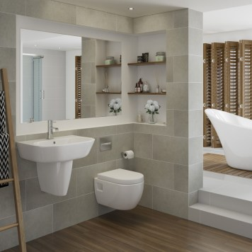 Verona Complete Suite (Wall Mounted WC, Steel Single End 2TH Bath Tub and 1TH Semi Pedestal Basin)