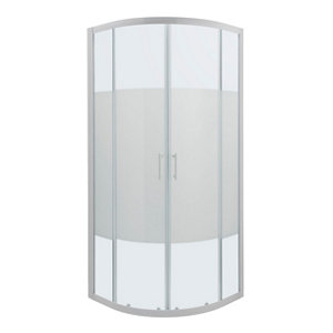 GoodHome Onega Quadrant Frosted effect Shower Enclosure & tray with Corner entry double sliding door (W)800mm (D)800mm